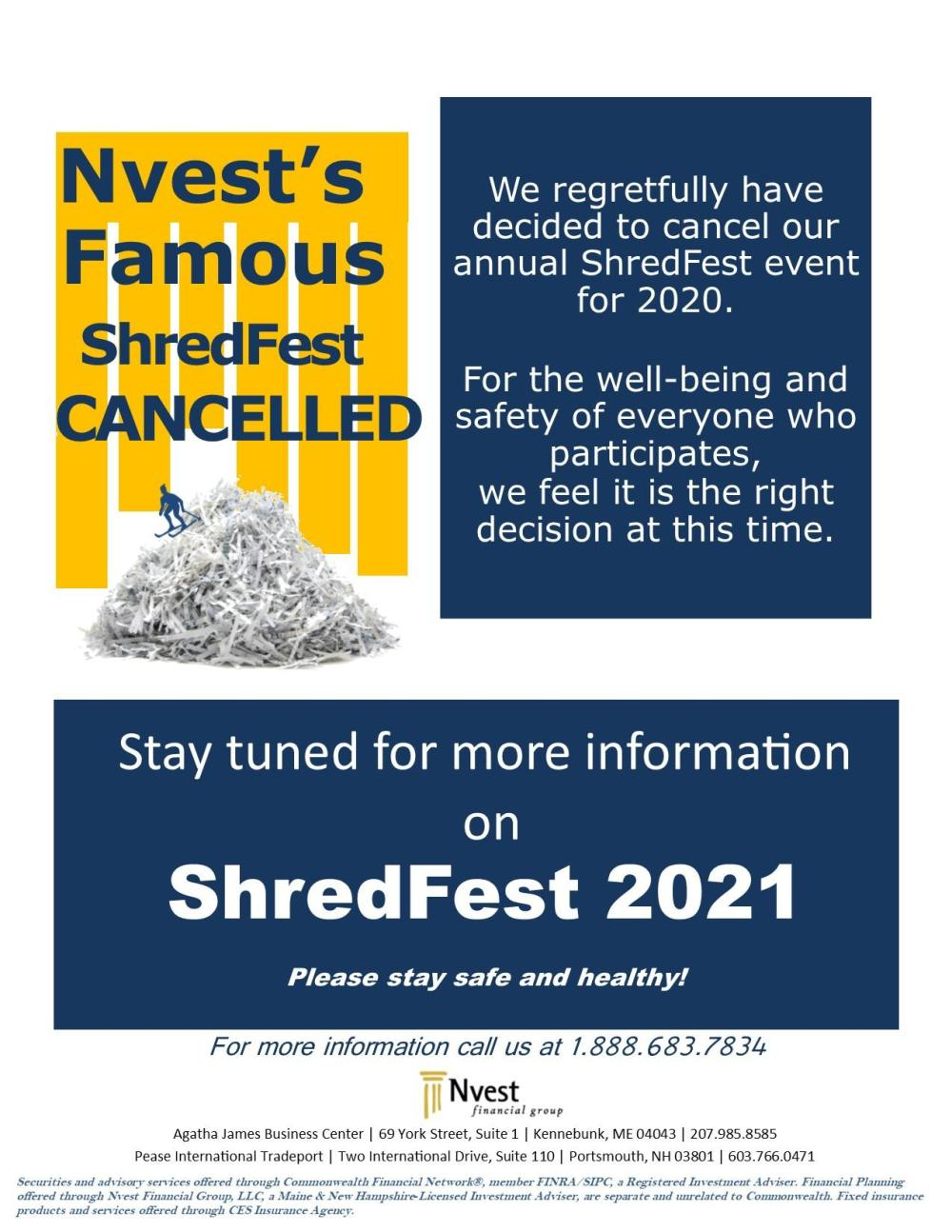 Shredfest cancellation